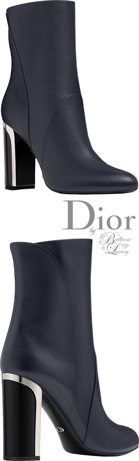Brilliant Luxury ♦ Dior navy blue calfskin ankle boot