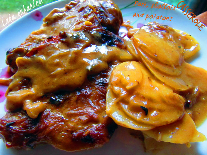 Pork casserole with shallots and potatoes by Laka kuharica: pork chops topped with creamy gravy and new potatoes.