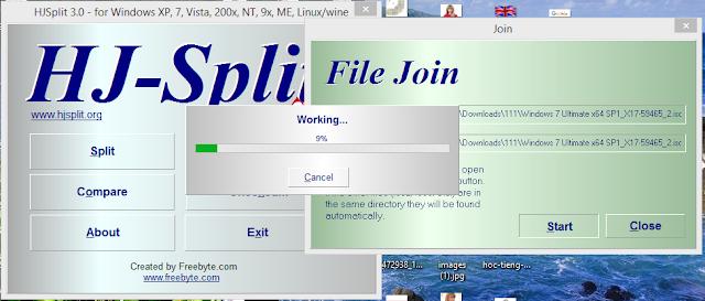 Tải phần mềm nối file HJ-Split để nối 4 file lại với nhau