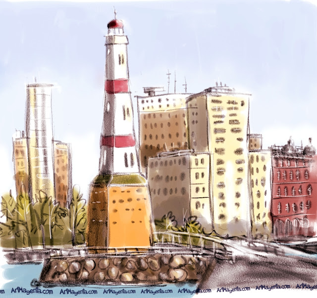 The old lighthouse in Malmö is a sketch by urban sketcher Artmagenta