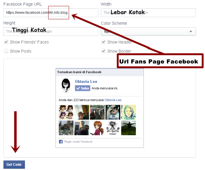 Cara Pasang Like Box Fanspage Facebook Di Blog 2