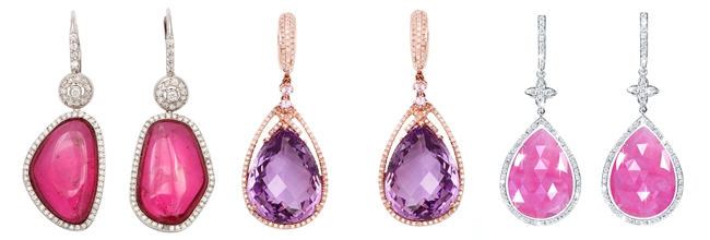 luxurious woman's earrings with pink and purple stones