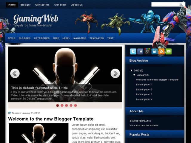 GamingWeb Blogger Template