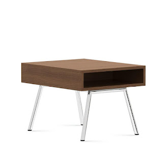 Mid Century Modern Side Table with Storage Compartment