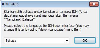 Pilih bahasa IDM