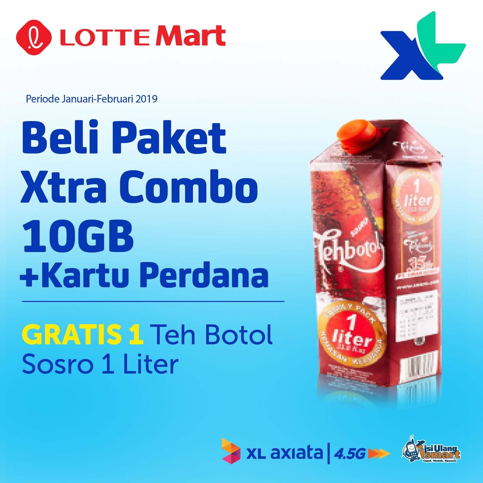 #LotteMart - #Promo Beli Paket XL Xtra Combo 10GB & 20GB Gratis Minuman (s.d 28 Feb 2019)