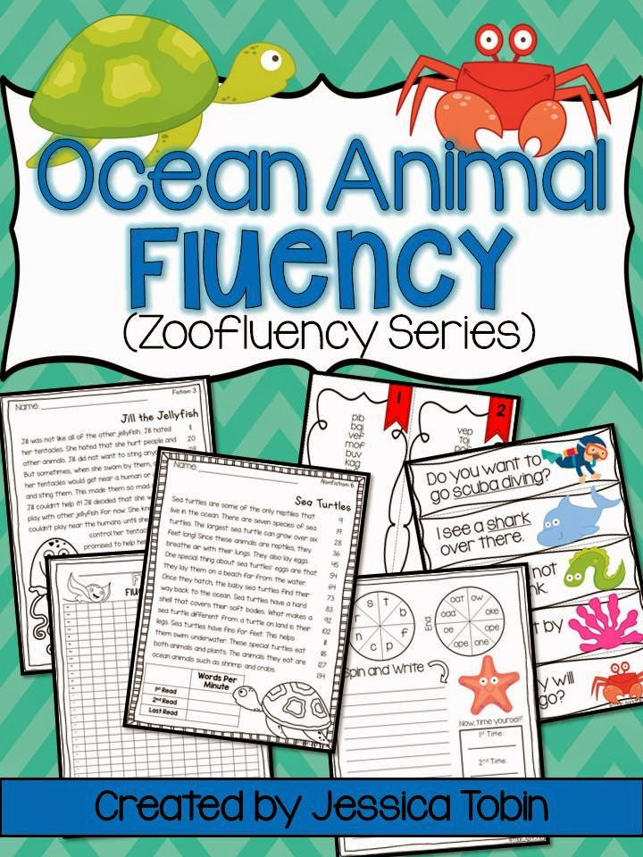 Fluency Passages for running records, practice, and center activities- with an ocean theme