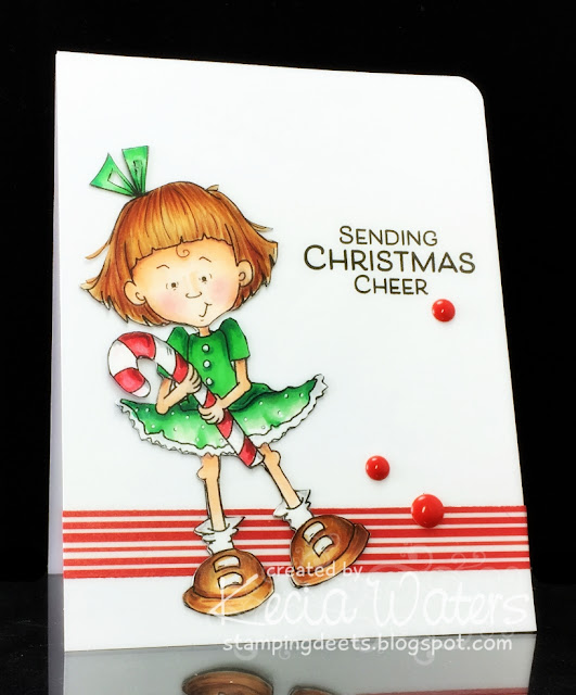 Sassy Cheryl's, Keca Waters, copic markers, candy cane, Christmas