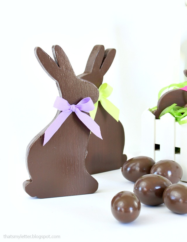 diy faux chocolate easter bunnies