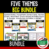 World Geography Five Themes Bundle, Anchor Charts, Games, Guided Notes, Digital Choice Boards, Google Classroom, Word Walls
