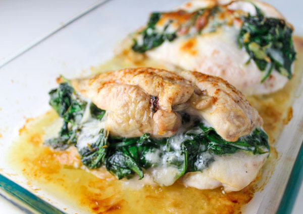 BAKED SPINACH PROVOLONE CHICKEN BREASTS RECIPE