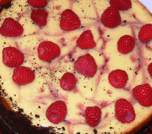 Raspberry white chocolate cheescake