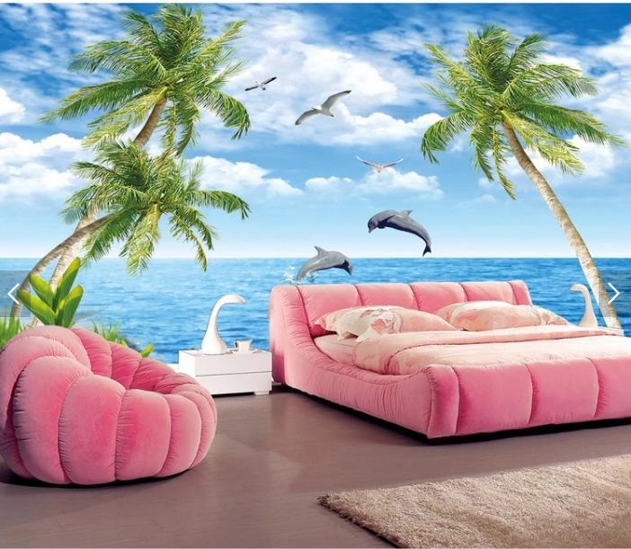 Tranh dán tường phong cảnh biển cho phòng khách đẹp