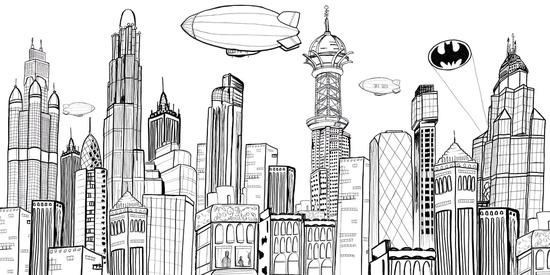 Gotham City skyline with bat-signal