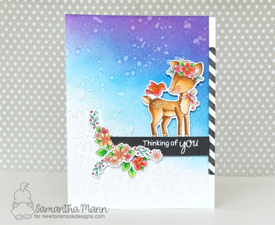 Deer with Flowers card by Samantha Mann | Woodland Spring Stamp Set and Bold Blooms Stencil by Newton's Nook Designs #newtonsnook #handmade