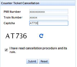 New Counter Train Ticket cancellation procedures