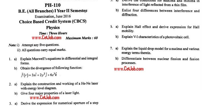 RGPV Physics Important Question | Notes | BT201 Physics OLD