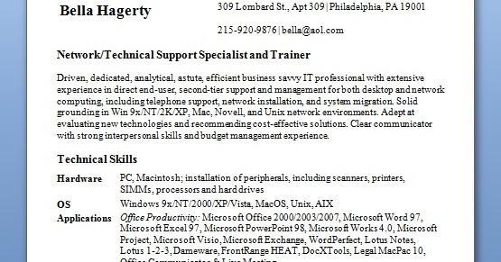 technical support specialist resume samples in word format