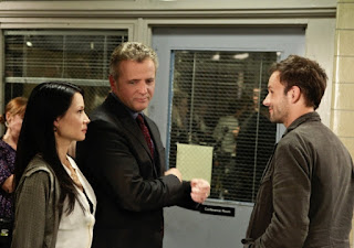"Jonny Lee Miller as Sherlock Holmes, Lucy Liu as Joan Watson and Aidan Quinn as Captain Gregson in Elementary Episode # 3 ""Child Predator"""
