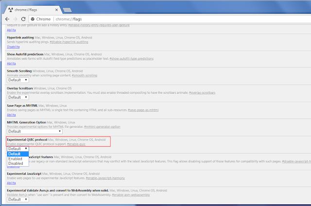 Chrome, Experimental QUIC protocol