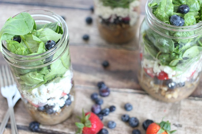 Strawberry Blueberry Balsamic Mason Jar Salads Recipe