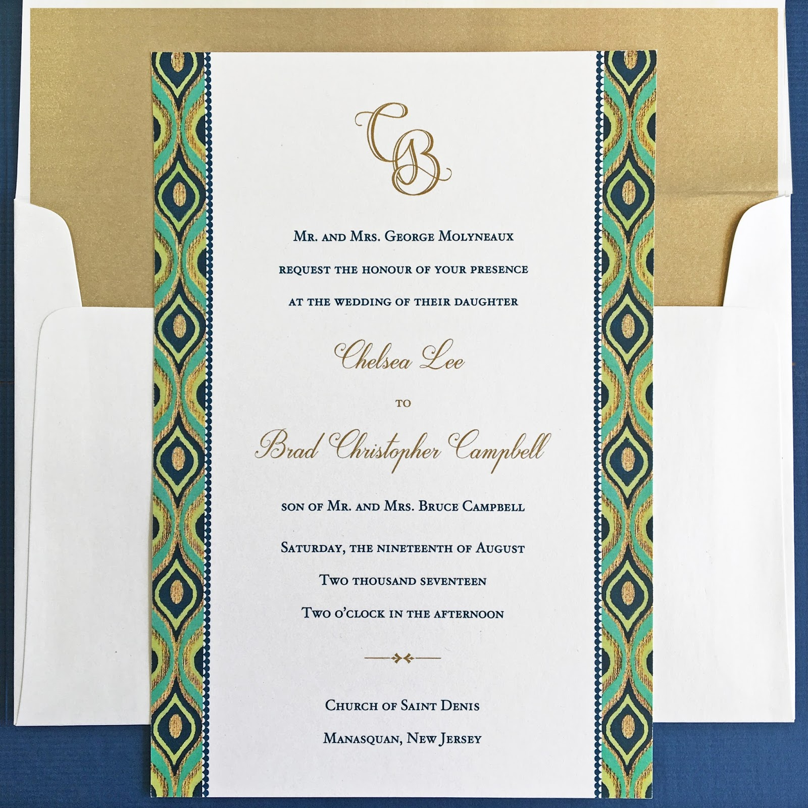 Invitations, Ink, Social Design Studio: A Bold Pattern and Marine Colors
