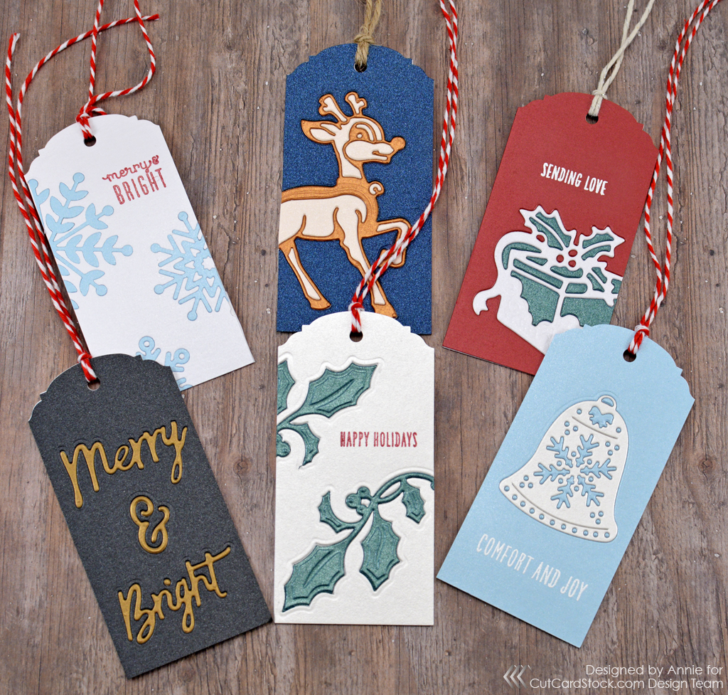 quick christmas gift tags with inlaid die cutting cutcardstock