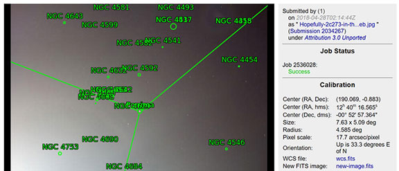 What is was, was about 2 degrees too low in altitude for 3c273 (Source: astrometry.net)