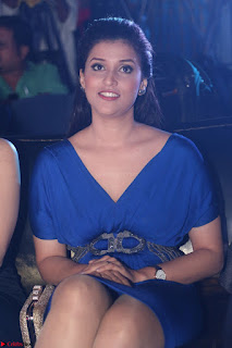 Mannara Chopra in Short Blue Dress at Rogue Movie Teaser Launch 1st March 2017 014.JPG