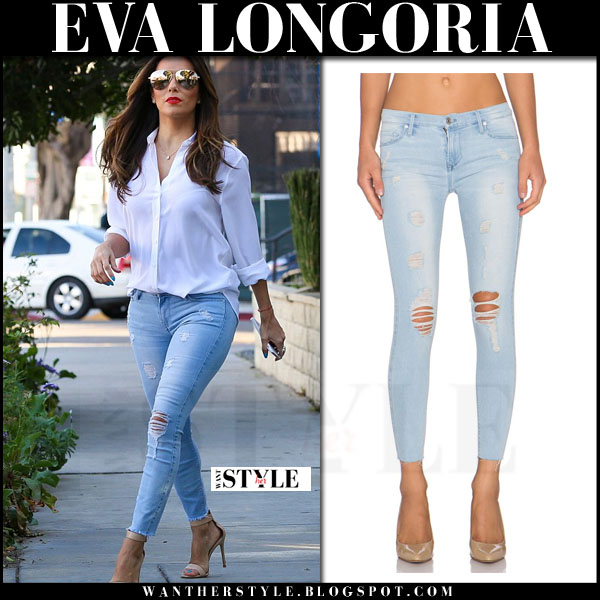 Eva Longoria in white equipment shirt and light blue black orchid ripped jeans what she wore streetstyle