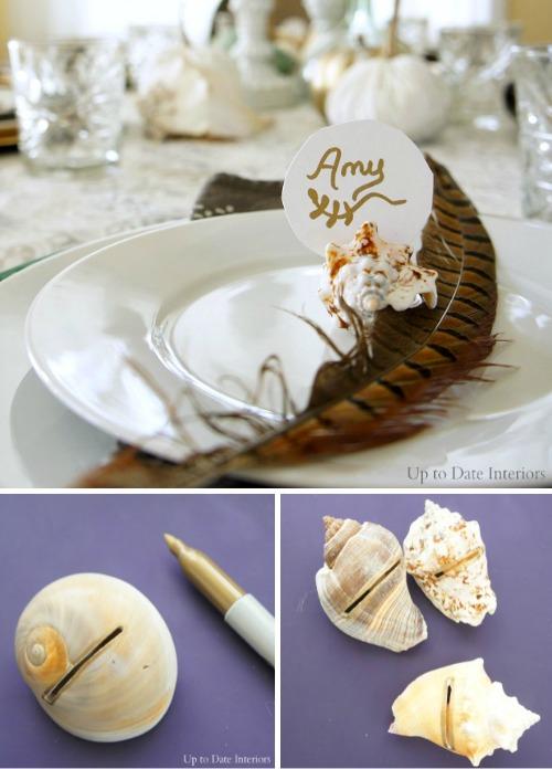 DIY Seashell Place Card Holders
