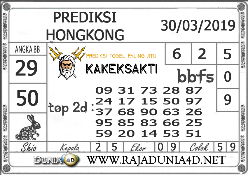 Prediksi Togel HONGKONG DUNIA4D 30 MARET 2019