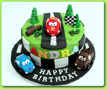 Cake Ulang Tahun Anak Simple Mountain Racing Mcqueen N