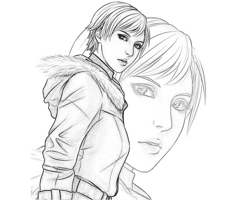 resident evil 5 jill valentine coloring pages | Claire Redfiels - Free Colouring Pages