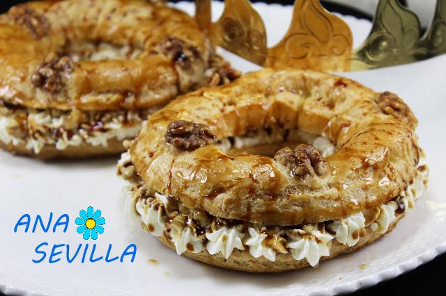 Coronas de nata, nueces y caramelo con Thermomix. Ana Sevilla