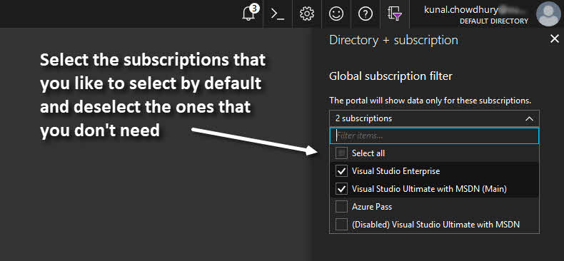 Microsoft Azure Global Directory and Subscription Filter Panel