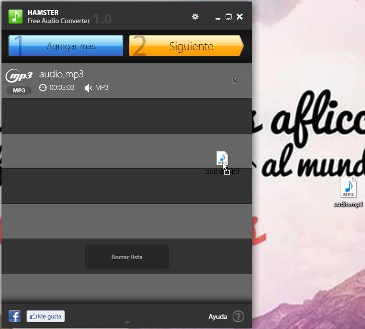 Agregando archivos de audio en Hamster Free Audio Converter