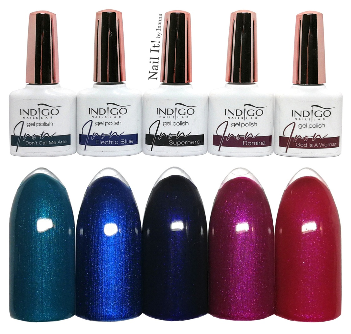 "Indigo Nails ""Iron"" Collection - swatches of 5 colors"