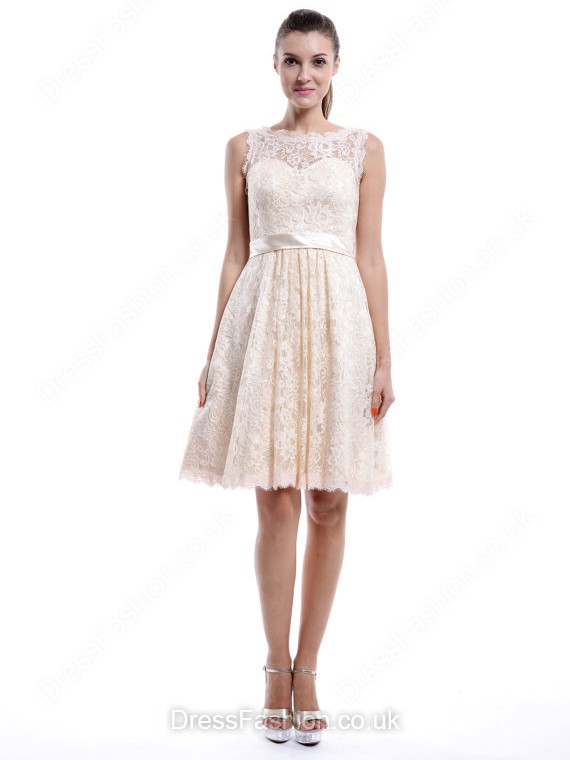 A-line Square Neckline Lace Knee-length Sleeveless Bridesmaid Dresses