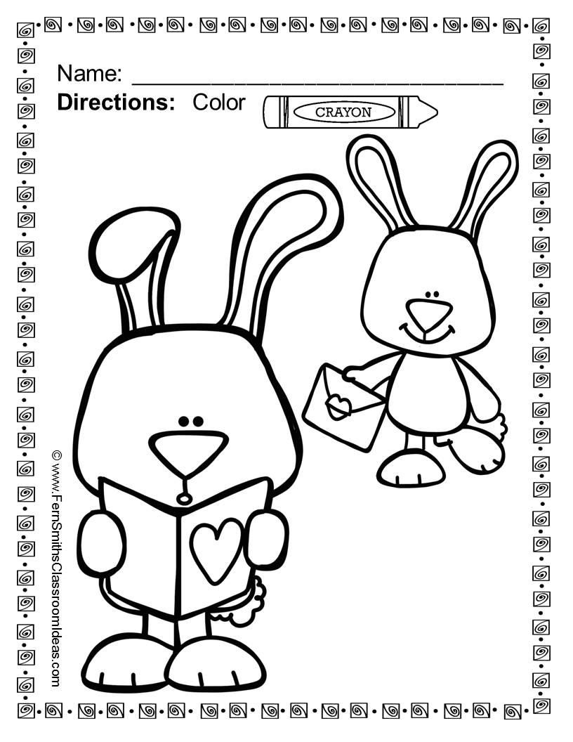 Fern Smith's Classroom Ideas Freebie Friday ~ FREE St. Valentine's Day Fun! One Color For Fun Printable Coloring Page Sample
