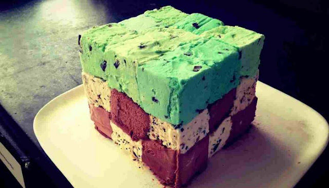 minecraft ice cream birthday cake