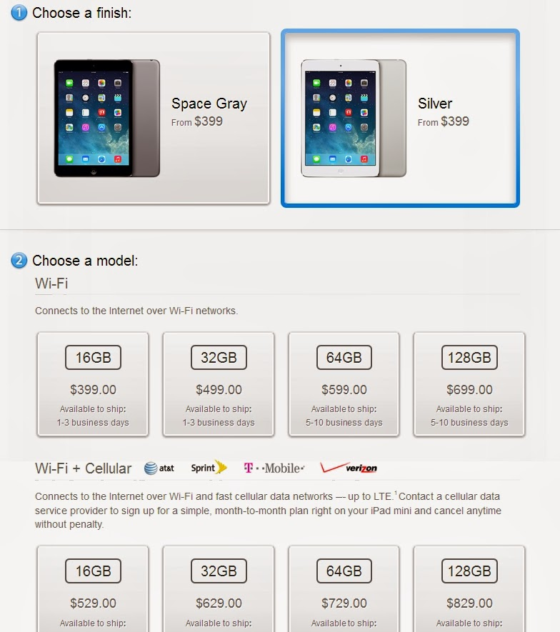 Apple has just released its new iPad Mini with Retina display on the Apple Store. Note that each customer can buy two mini iPad Retina maximum.