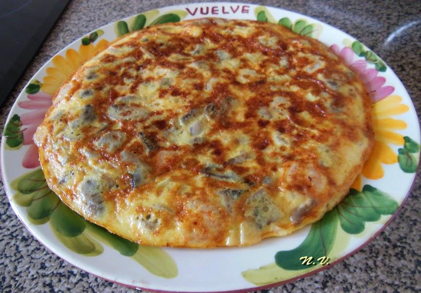 TORTILLA DE CHAMPI Y GAMBAS 4