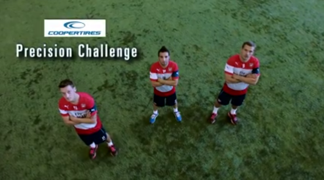 Watch: Arsenal stars attempts tricky tyre challenge