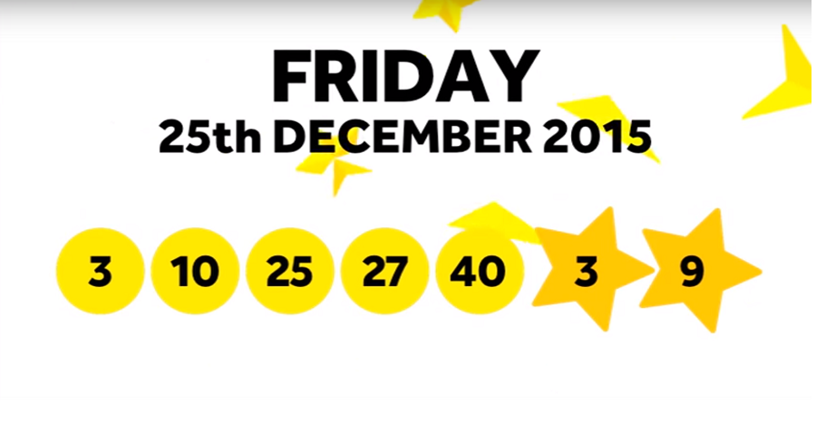 The National Lottery Friday 'EuroMillions' draw results from 25th December 2015