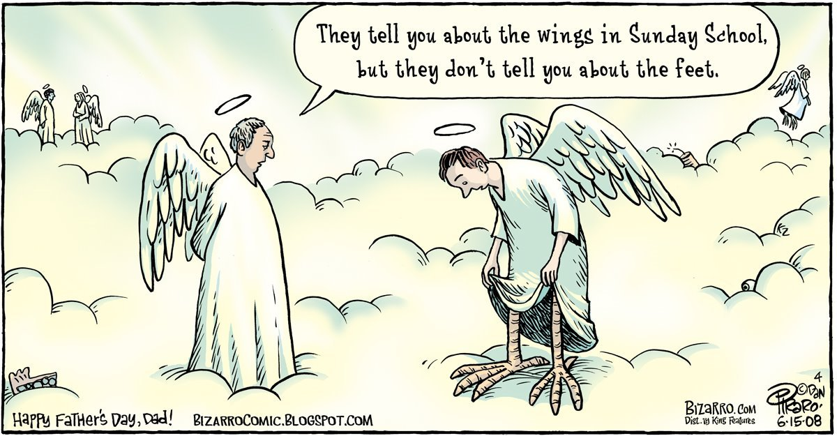 Thy tell you about the wings in Sunday School, but they don't tell you about the feet.