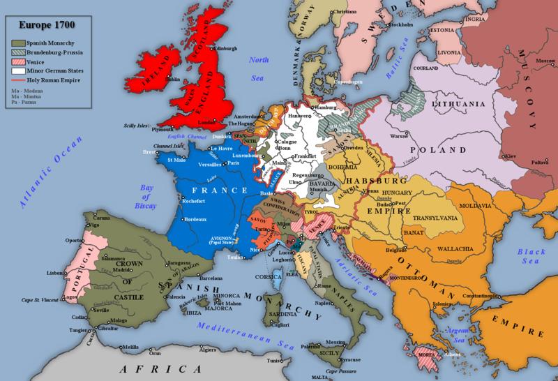 Cartina Europa 1700.Teatro Italiano La Mappa Del Europa Nel 1700