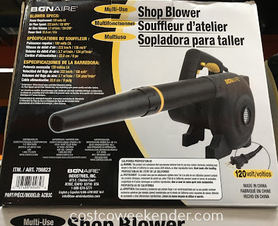 Costco 708823 - Bon-Aire Multi-Use Shop Blower makes cleanup fast and convenient