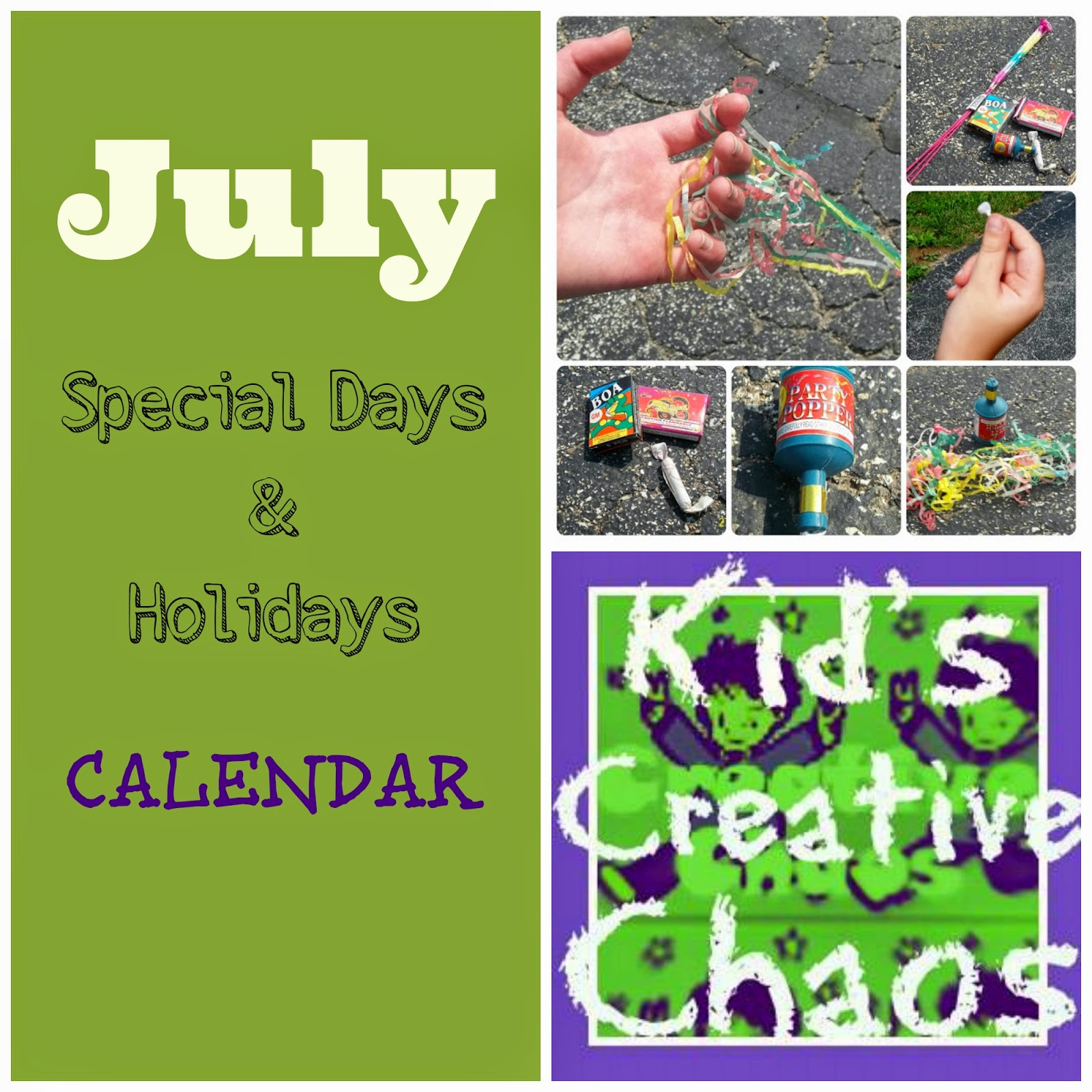 Plan lots of Fun Activities with this July Calendar of Special Days and Holidays.