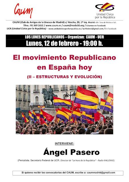 Conferencia: El movimiento republicano en la España de hoy